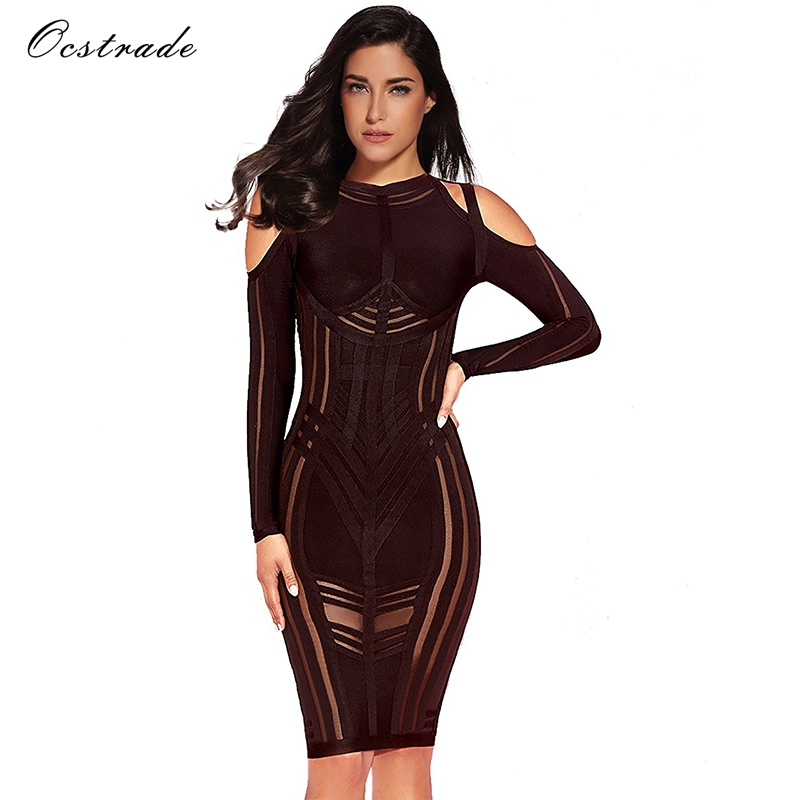 Ocstrade Long Sleeve Bodycon Dress 2017 Winter Autumn New Sexy Cold Shoulder Mesh Vestido Bandage Dress