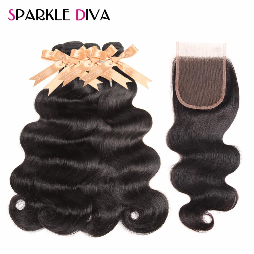 Sparkle Diva Hair Brazilian Body Wave Hair 4 bundles 100% Human Hair Bundles With Closure Free Part Non-Remy Hair Extension