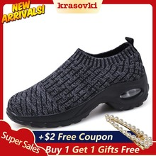 Krasovki Platform Sneakers Flying knitting Women Thick Breathable Slipony Color Designer Shoes for Female Slip on