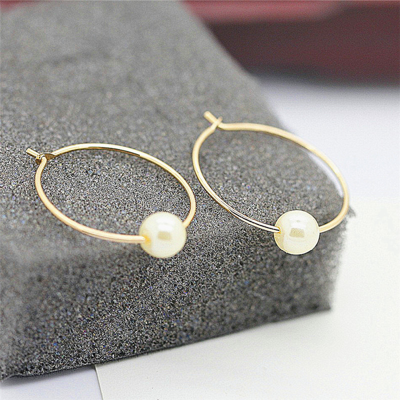 Minimalist cos hm circle pearl ear ring earring transparent glass bead earrings earrings female restoring ancient ways in Hoop Earrings from Jewelry Accessories