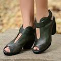 Personalidade tendência nacional em relevo feitas à mão das mulheres de couro genuíno sapatos de salto alto grosso sapato dedo aberto elegantes sandálias de correia