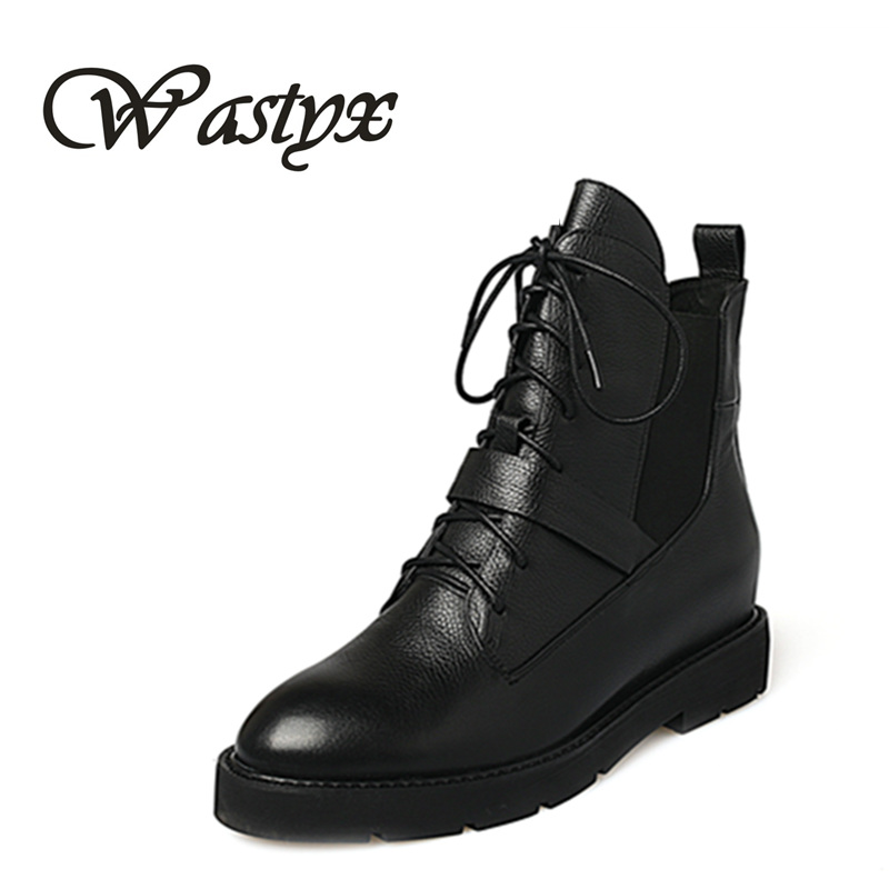 Wastyx new Genuine leather women boots fashion flat heel womens riding boots lace up ankle boots round toe casual leather shoes jawakye round toe silver chains studded ankle boots women flat heel genuine leather winter shoes motocycle boots for women