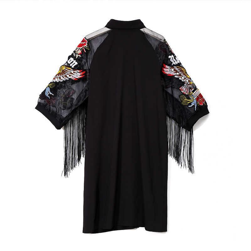 Женское черное платье-рубашка 2019, женские милые платья-миди большого размера с рукавом-сеткой 3/4 с вышивкой и бахромой для вечеринки и клуба, платья 3398