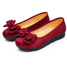 women's spring&summe Cotton-made beijing shoes shoes flat single shoes bow round toe shallow mouth soft outsole work sheos  e04