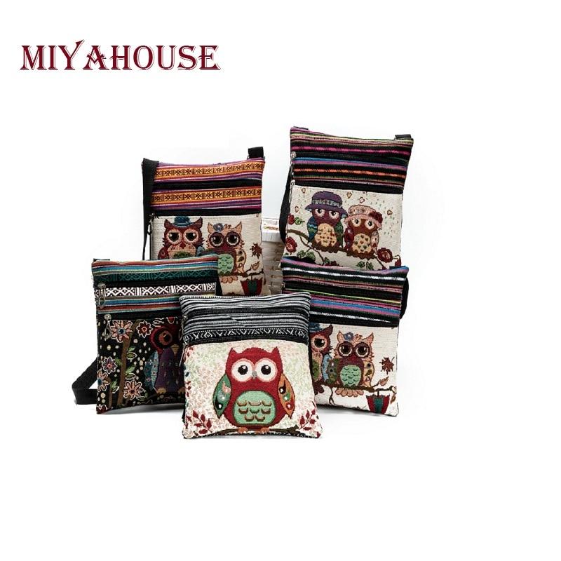 Miyahouse Double Zipper Female Mini Flap Shoulder Handbags Cartoon Owl Printed C