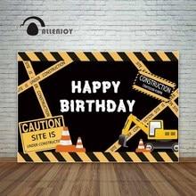 Allenjoy Verjaardag Achtergrond Photocall Bouw Party Geel Voorzichtigheid Graafmachine Kind Graver Fotografie Achtergrond
