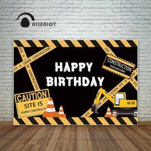 Allenjoy birthday backdrop photocall construction party yellow caution excavator child digger photography background