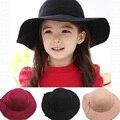 Англия ретро шляпы для девочки 2017 новых прибытия моды шляпы и шапки для детей девушки сплошной цвет девушки шляпы с края