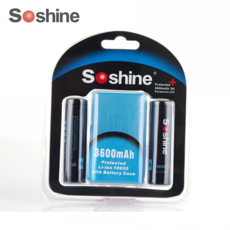 все цены на Soshine High Capacity 18650 3.7V 3600mAh Rechargeable Battery Protected High Discharge Li-ion Batteries Battery box онлайн