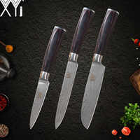 XYj 7cr17 Stainless Steel Kitchen Knife Color Wood Handle Santoku Utility Paring Knife 3Pcs Set Cooking