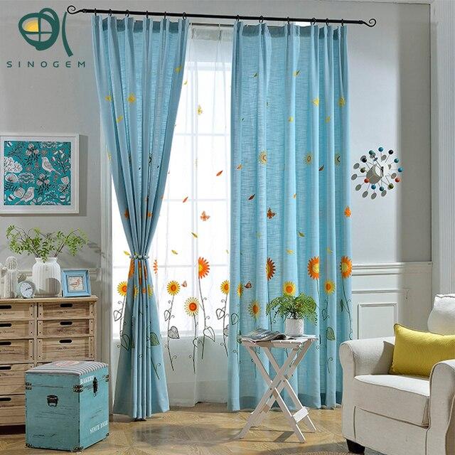 Sinogem Window Curtain Living Room Children Cartoon Blue Curtains