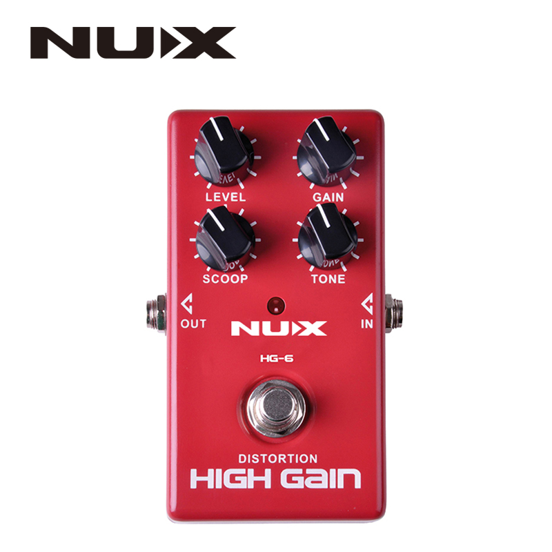 NUX HG-6 High Quality Guitar Distortion High Gain Electric Effect Pedal True Bypass Red Durable Guitar Parts & Accessories nux hg 6 guitar distortion high gain electric effect pedal true bypass for heavy metal rock solo durable guitar parts accessory