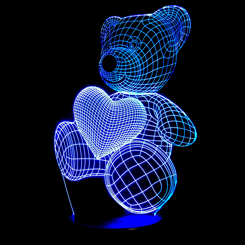7 Colorful Cartoon Cute Bear Hold Heart Acrylic LED Lamp 3D Night Light Baby Bedroom Sleeping Light For Children Birthday Gift