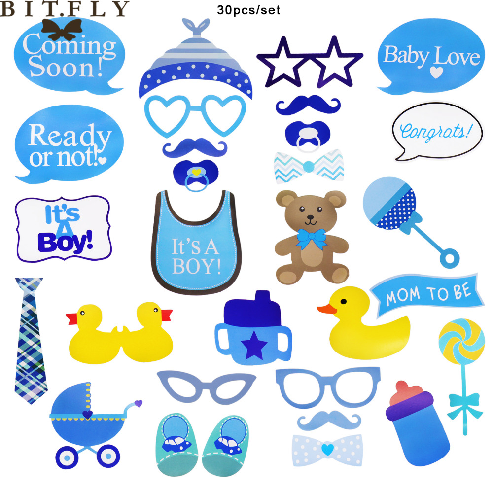 30pcs/set Boy Baby Shower ducklings Photo Booth Prop Kit Mom To Be ...