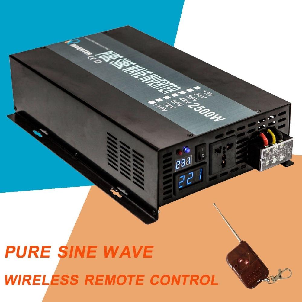 Pure Sine Wave Solar Power Inverter 2500W Car Battery Inverter 24V to 220V Transformer 12V/48V DC to 120V/240V AC Remote Control pure sine wave solar inverter 5000w car power inverter 24v 230v transformer 12v 24v 48v dc to 120v 220v 240v ac remote control