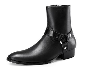 Chelsea boots men black leather boots metal real Leather ankle booties high top zip up men boots pointed trend side zipper shoes