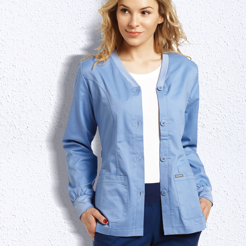 EDS Signature Stretch Button Front Scrub Jackets Nurse Coat Warm Up Medical Scrub Top With Certainty Long Sleeve Workwear Scrubs