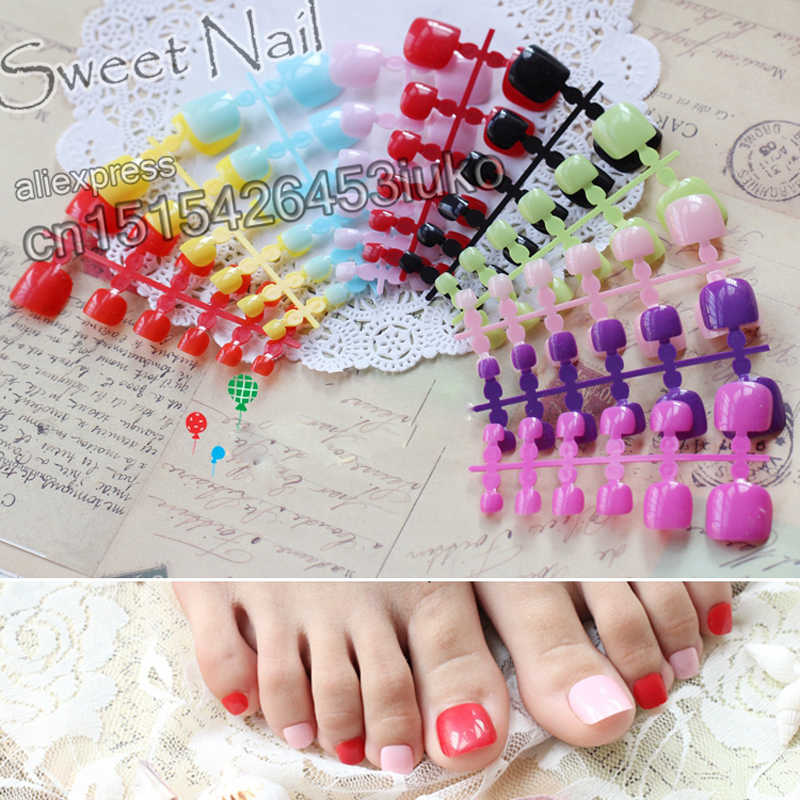 2019 Buys French show cute candy fake toenails toes Transparent  #C
