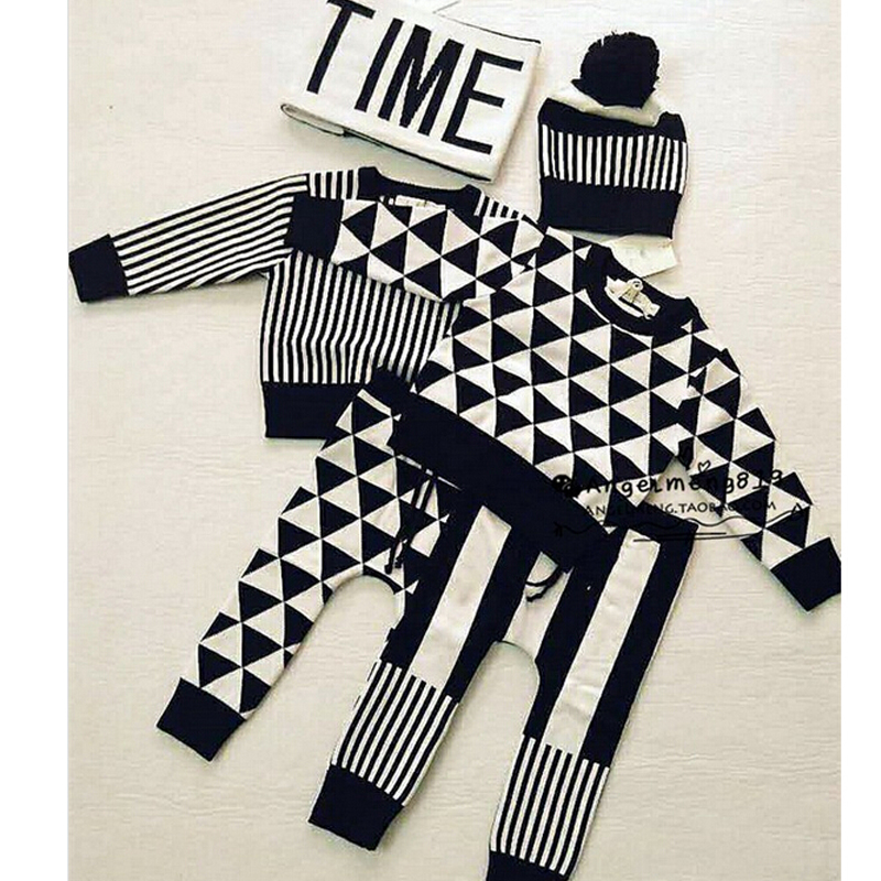 2016 весна осень детская одежда nununu дети устанавливает свитера брюки для мальчиков девочек крошечный хлопок huxbaby свитер трикотажные рубашки
