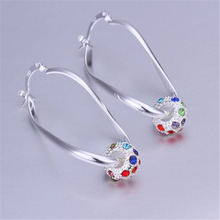 package mail Valentine gift 925 sterling silver jewelry Specials fashion women color zircon crystal earrings