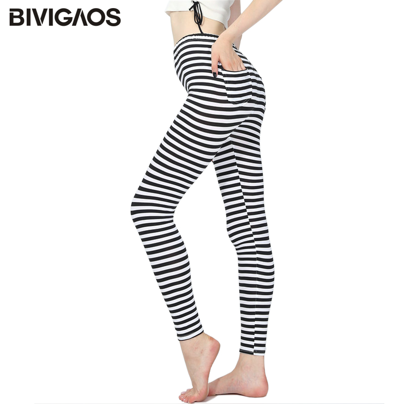 BIVIGAOS Womens Black White Transverse Striped   Leggings   Back Pocket Workout   Leggings   Fashion Casual   Legging   Pants Trousers Women