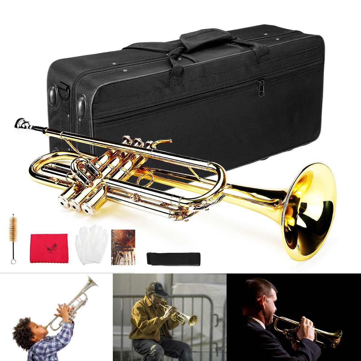 Instrument de musique trompette Bb professionnel trompette Kit laiton bande Instrument avec sac étudiant musique outil B plat jouets cadeau accès