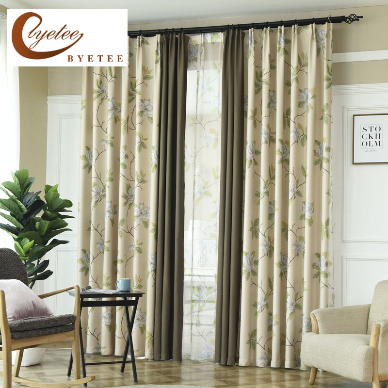 {byetee} Pastoral Luxury Blackout Kitchen Door Curtains For Living Room Curtain Fabrics Bedroom Cortinas Window Shades Drapes