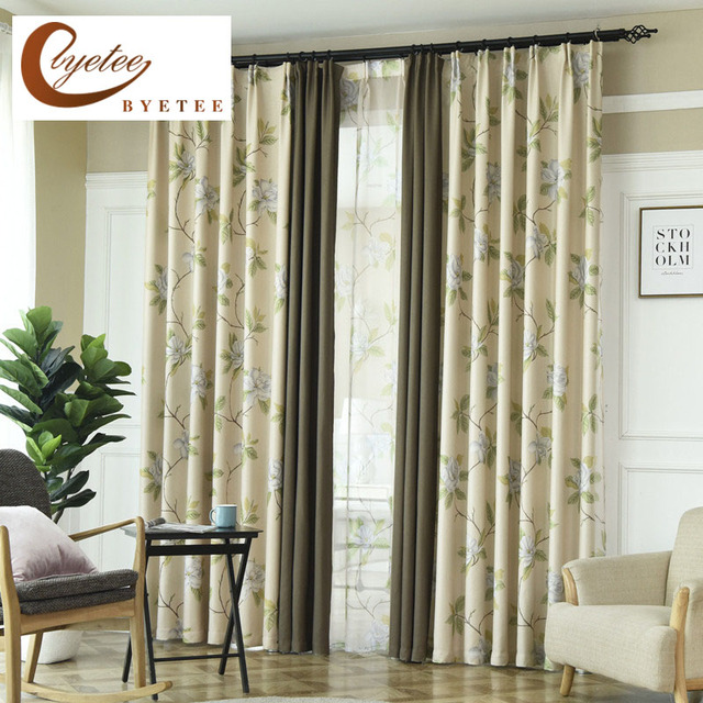 {byetee} Pastoral Luxury Blackout Kitchen Door Curtains For Living Room  Curtain Fabrics Bedroom Cortinas
