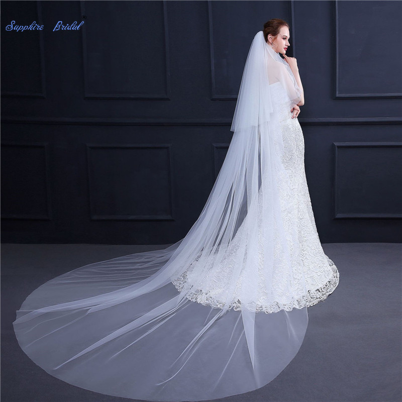 Sapphire Bridal 2 Layers Cut Edge Wedding Veil 3m Ivory/white Long Train Cathedral Bridal Veil with Comb Wedding Accessories