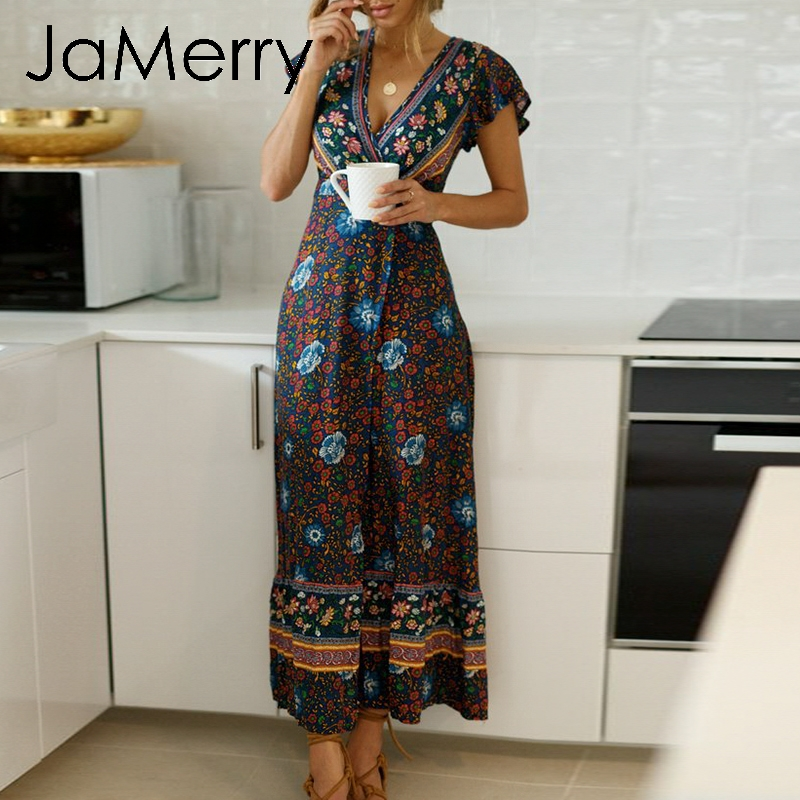 JaMerry Boho vintage floral print maxi long dress Ruffle sleeve sash sexy dresses Bohemian dress holiday beach dress vestidos Платье