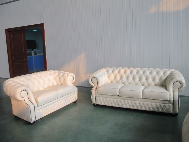 White Chesterfield Leather Sofa Set 3 2 1 Seat In Living