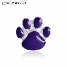 QIHE مجوهرات دبابيس و دبوس الأرجواني باو بروش مجوهرات الحيوانات الأليفة الكلب القط عاشق مجوهرات هدية لمحبي الحيوان باو القط الكلب بروش
