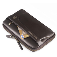 teemzone Men's Genuine Leather Business Clutch Wrist Bag Handbag Cash Card Case Checkbook Organizer Bag Black Clutch Bag S3216