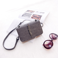 Wulekue Herald Leaves Decorated Mini Flap Bag Suede PU Leather Small Women Shoulder Bag Chain Messenger