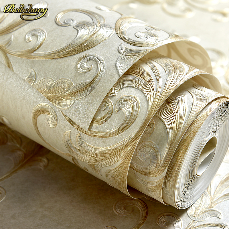 beibehang Luxury silk long-fiber 3d three-dimensional relief European non-woven wallpaper bedroom living room TV backdrop цена