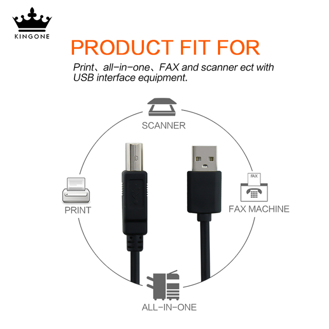 USB B Cable USB 2.0 Type A Male to B Male Scanner Printer Cable Sync Data Charger Cable for Printer for Laser Printer Sales