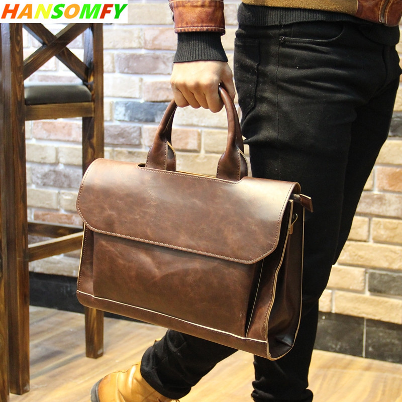 New Men handbags male briefcase computer bag file package crazy horse leather shoulder messenger bag 14 inch laptop briefcases(China)