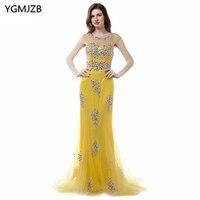 Amarillo largo Vestidos de noche 2018 nueva llegada cucharada sirena sin respaldo impresionante con cuentas de cristal africano formal prom vestido de noche