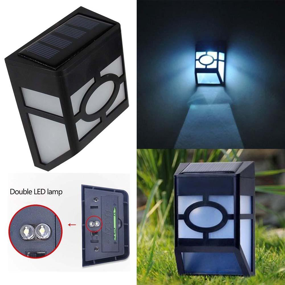 Solar Powered Wall Mount Led Light Garden Path Outdoor Fence Yard Lamp Wt Outside Lights Led