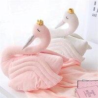 PanlongHome Coroado Swan Decoração Cisne Travesseiro Almoço Cobertor Ar Condicionado Cobertor Presente Da Menina