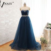 P1133 Plus Size Off The Shoulder With Pleated And Beading Navy Blue Long Organza A Line Prom Dress Formal Event Gown Elegant