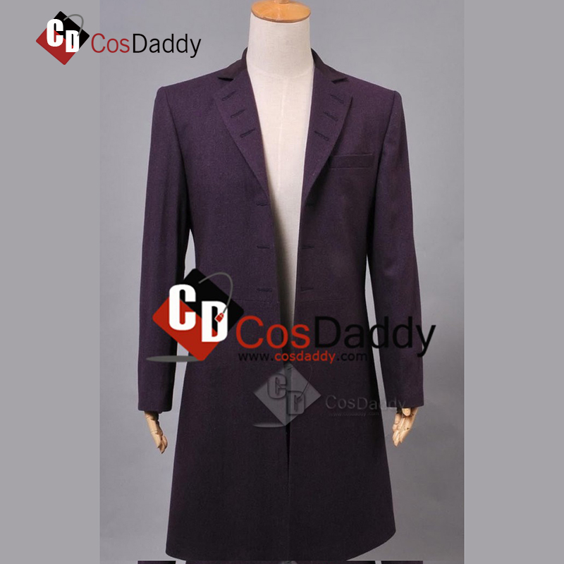 Doctor Who 11 Buttonless Purple Wool Frock Coat Costume CosDaddy Brand COSDADDY
