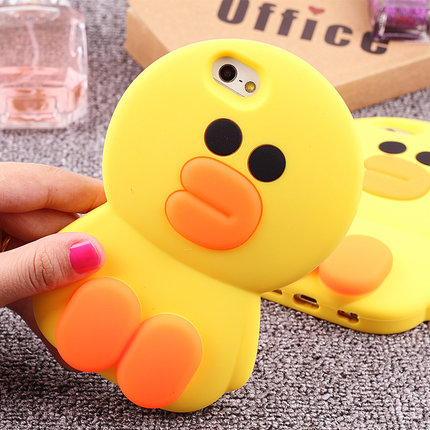 Cute 3D Korean Animal Cartoon Yellow Donald Duck Rubber Soft Silicone Phone Cases For iphone 5 5s 6 6s 6plus 7 7plus Cover