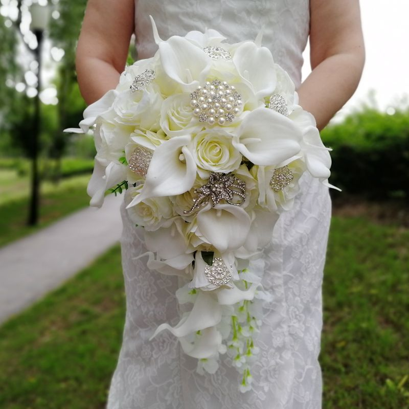 Waterfall Ivory Wedding Flowers Bridal Bouquets Artificial Pearls Crystal Wedding Bouquets Bouquet De Mariage Rose