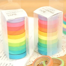 10PCS/box Rainbow Solid Color Masking Sticky Paper Tape Adhesive Printing DIY Scrapbooking Decor Washi Lot Home Supplies