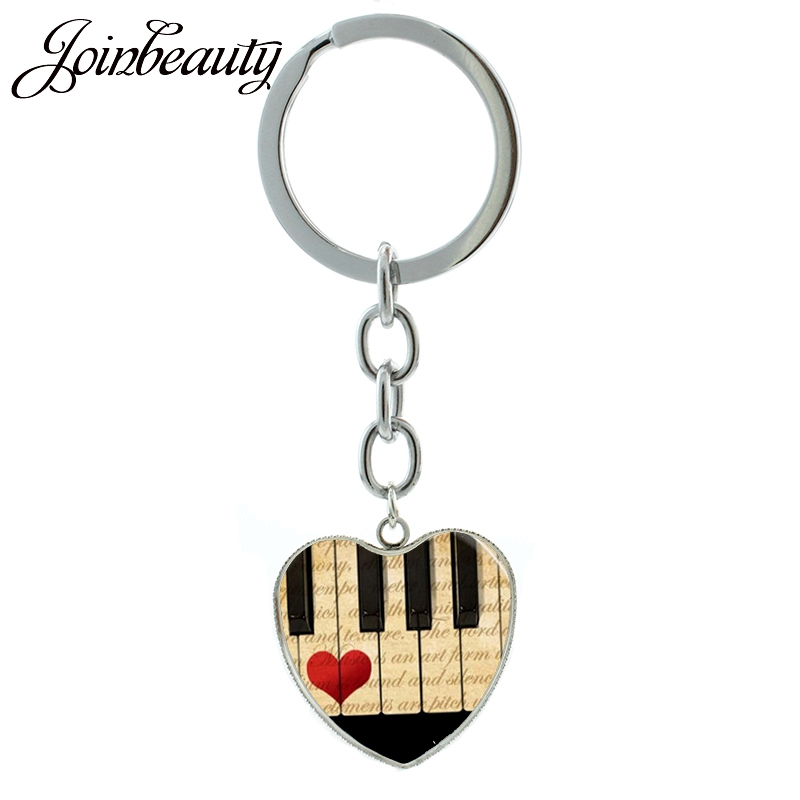 US $1 02 49% OFF|JOINBEAUTY Charming Music Piano Keyboard Treble Clef heart  pendant keychain G Clef musical note jewelry key chain ring HP110-in Key