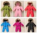Дети вниз ребенка Сиамских Ползунки куртка восхождение одежда для мужчин и женщин, мальчики и девочки одежду толстый теплый меховой воротник