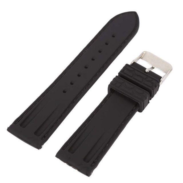 1207bf31edd Borracha de Silicone Relógio Pulseira de Crocodilo Marrom Padrão Preto 20 22mm  Pulseiras de Relógio Durável