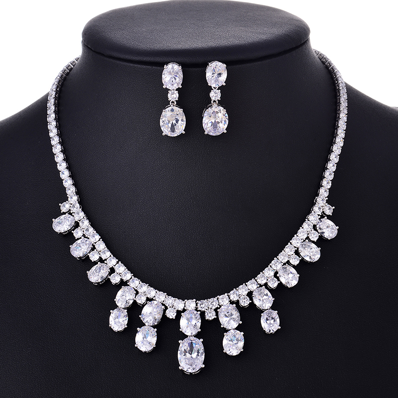 HIBRIDE Elegant Women Girls Gifts AAA Cubic Zirconia Pendant Necklace Fashion Jewelry Sets For Party Gifts N-114