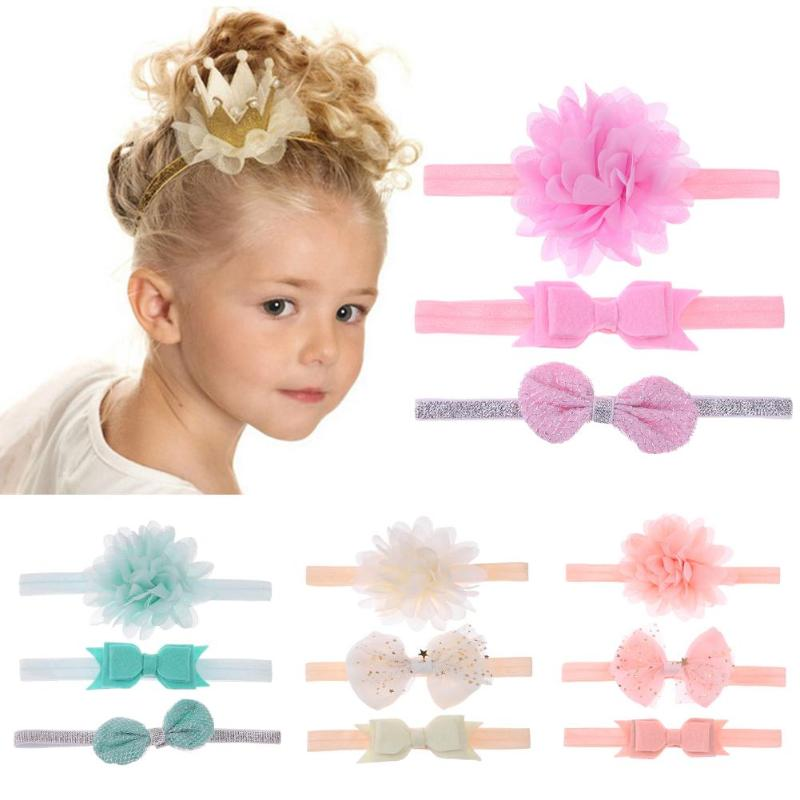 3pcs/lot Baby Girls Headwear Elastic Flower Toddler Headband Soft Bowknot Floral Child Hair Band Girls Baby Hair Accessories Set